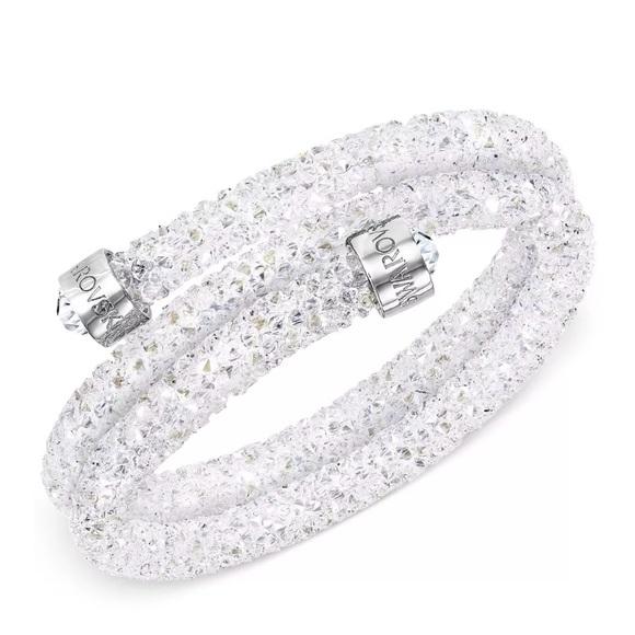 Swarovski Crystaldust Double Bangle White Bracelet